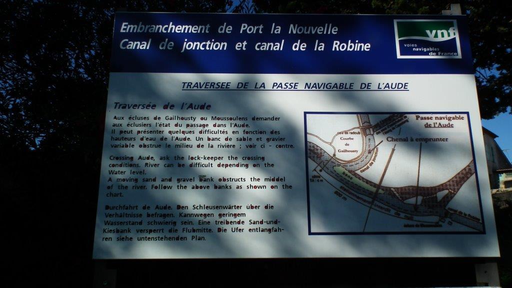 Traversée de la passe navigable de l'Aude